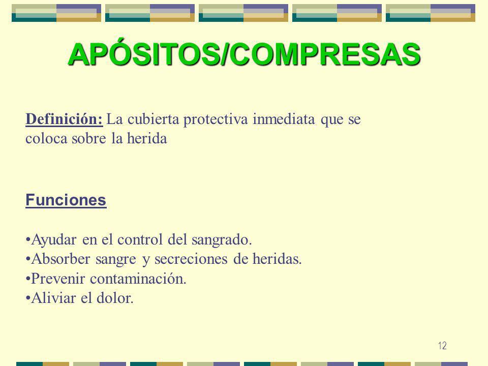 12 APÓSITOS/COMPRESAS Definición: La cubierta protectiva inmediata que se coloca sobre la herida Funciones Ayudar en el control del sangrado. Absorber