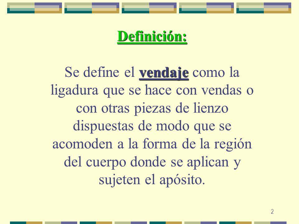 2 Definición: vendaje Se define el vendaje como la ligadura que se hace con vendas o con otras piezas de lienzo dispuestas de modo que se acomoden a l