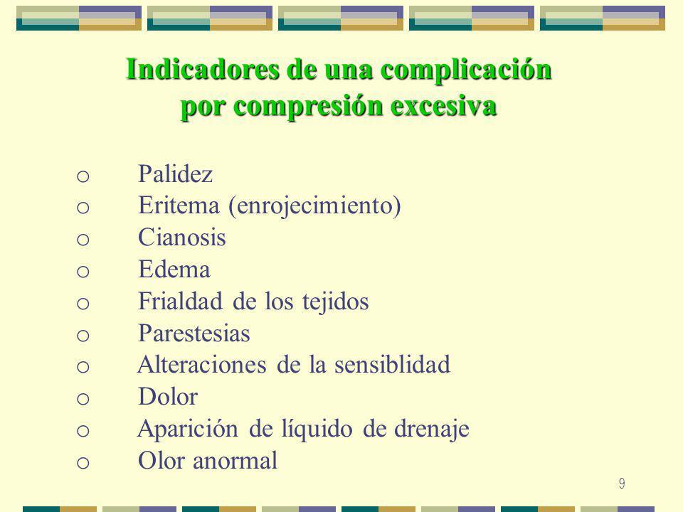9 Indicadores de una complicación por compresión excesiva o Palidez o Eritema (enrojecimiento) o Cianosis o Edema o Frialdad de los tejidos o Parestes