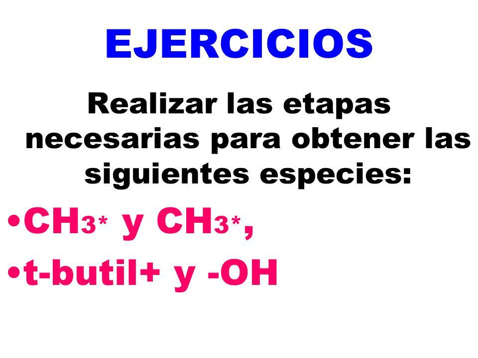 EJERCICIOS Realizar las etapas necesarias para obtener las siguientes especies: CH 3* y CH 3*, t-butil+ y -OH