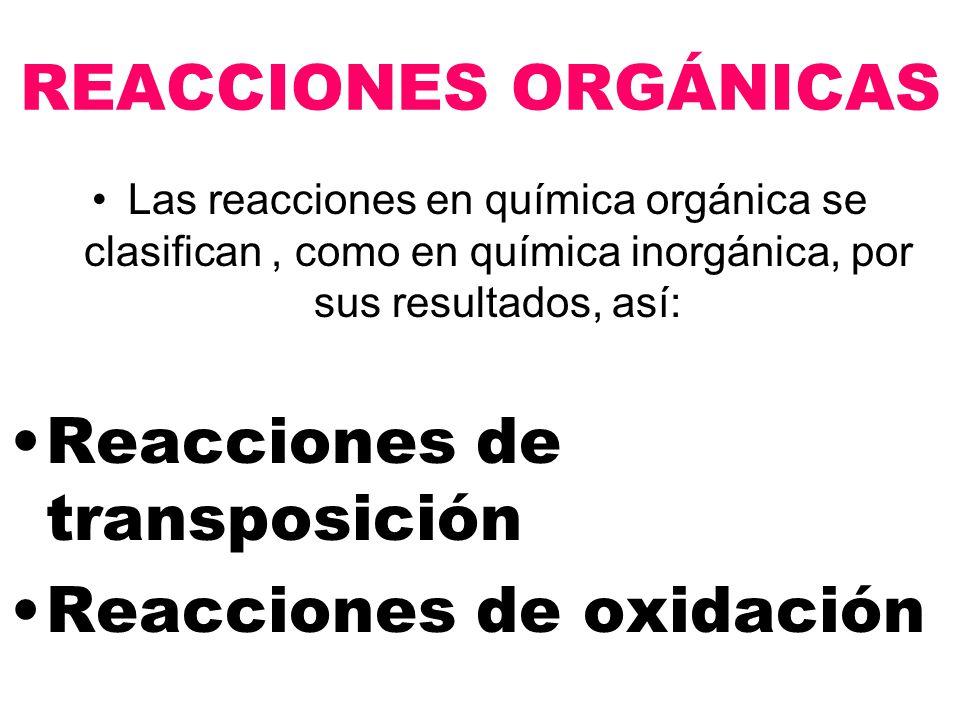REACCIONES ORGÁNICAS Las reacciones en química orgánica se clasifican, como en química inorgánica, por sus resultados, así: Reacciones de transposición Reacciones de oxidación