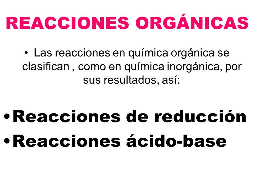 REACCIONES ORGÁNICAS Las reacciones en química orgánica se clasifican, como en química inorgánica, por sus resultados, así: Reacciones de reducción Reacciones ácido-base