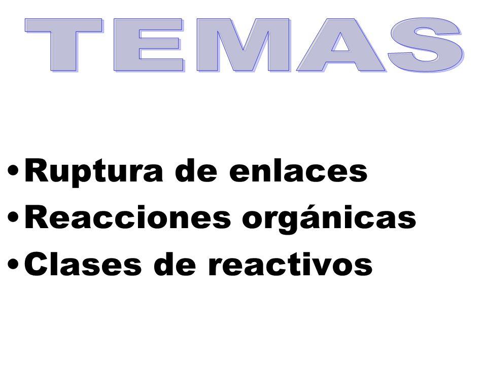 Ruptura de enlaces Reacciones orgánicas Clases de reactivos
