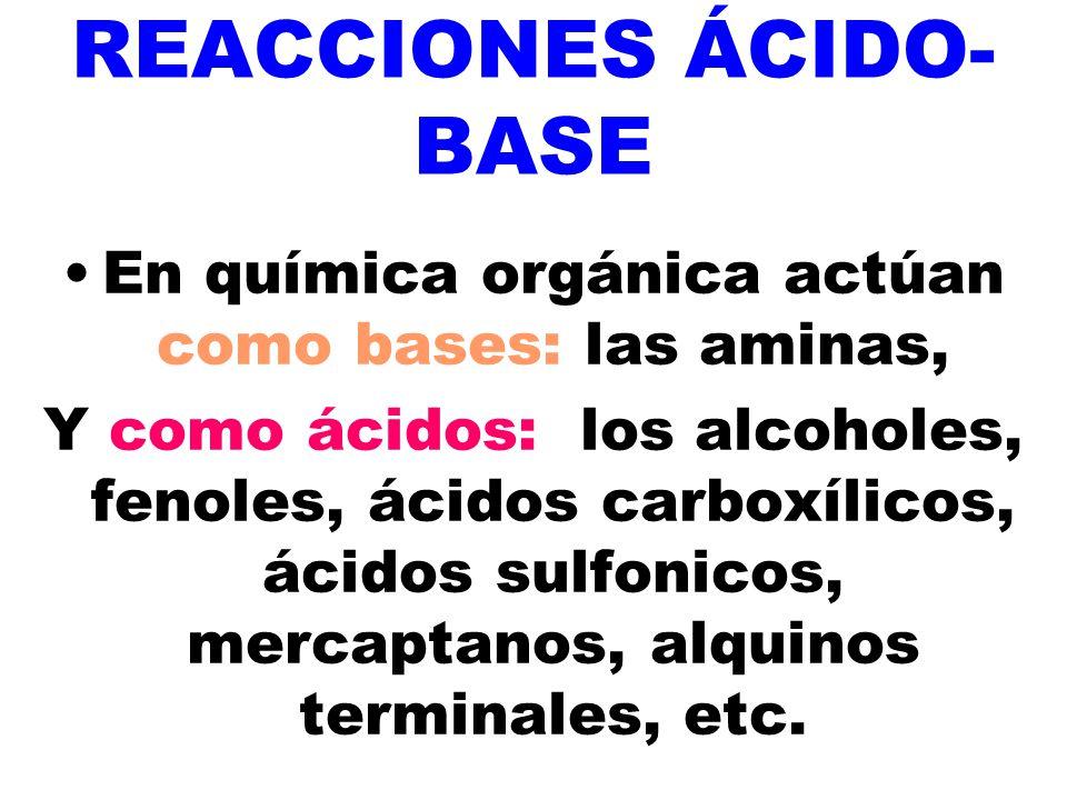 REACCIONES ÁCIDO- BASE En química orgánica actúan como bases: las aminas, Y como ácidos: los alcoholes, fenoles, ácidos carboxílicos, ácidos sulfonico