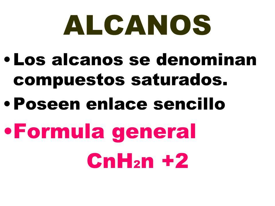 ALCANOS Los alcanos se denominan compuestos saturados. Poseen enlace sencillo Formula general CnH 2 n +2