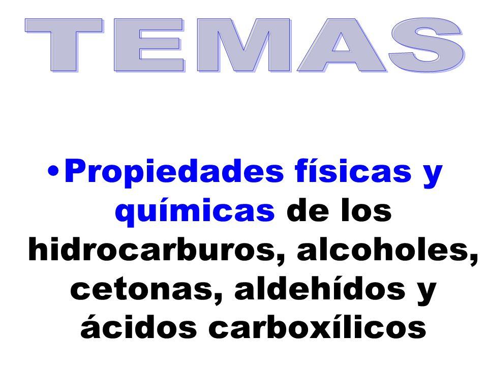 Propiedades físicas y químicas de los hidrocarburos, alcoholes, cetonas, aldehídos y ácidos carboxílicos