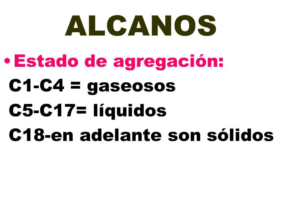 ALCANOS Estado de agregación: C1-C4 = gaseosos C5-C17= líquidos C18-en adelante son sólidos