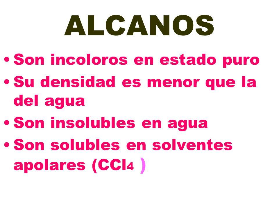 ALCANOS Son incoloros en estado puro Su densidad es menor que la del agua Son insolubles en agua Son solubles en solventes apolares (CCl 4 )
