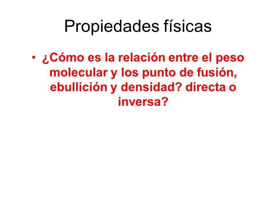 Propiedades físicas ¿Cómo es la relación entre el peso molecular y los punto de fusión, ebullición y densidad? directa o inversa?