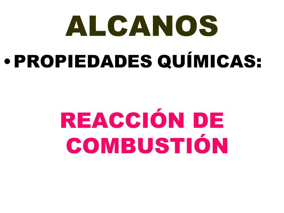 ALCANOS PROPIEDADES QUÍMICAS: REACCIÓN DE COMBUSTIÓN