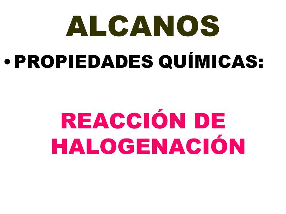 ALCANOS PROPIEDADES QUÍMICAS: REACCIÓN DE HALOGENACIÓN
