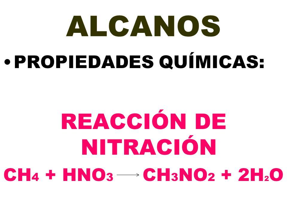 ALCANOS PROPIEDADES QUÍMICAS: REACCIÓN DE NITRACIÓN CH 4 + HNO 3 CH 3 NO 2 + 2H 2 O