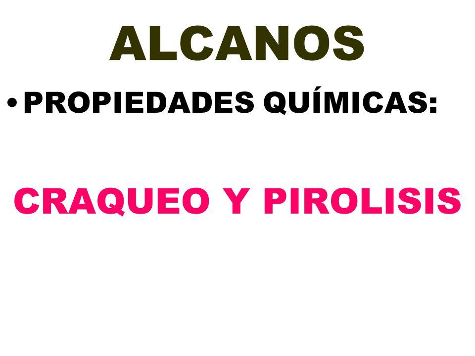 ALCANOS PROPIEDADES QUÍMICAS: CRAQUEO Y PIROLISIS