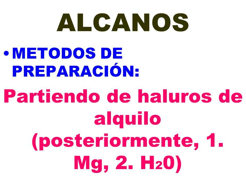 ALCANOS METODOS DE PREPARACIÓN: Partiendo de haluros de alquilo (posteriormente, 1. Mg, 2. H 2 0)