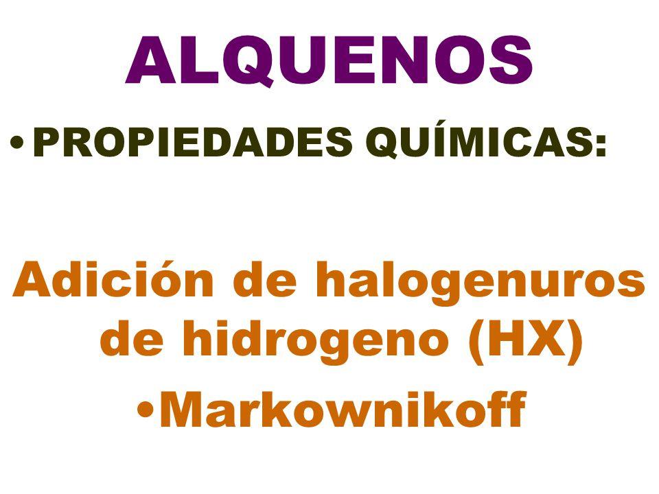 ALQUENOS PROPIEDADES QUÍMICAS: Adición de halogenuros de hidrogeno (HX) Markownikoff