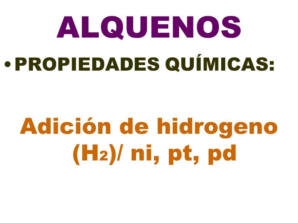 ALQUENOS PROPIEDADES QUÍMICAS: Adición de hidrogeno (H 2 )/ ni, pt, pd