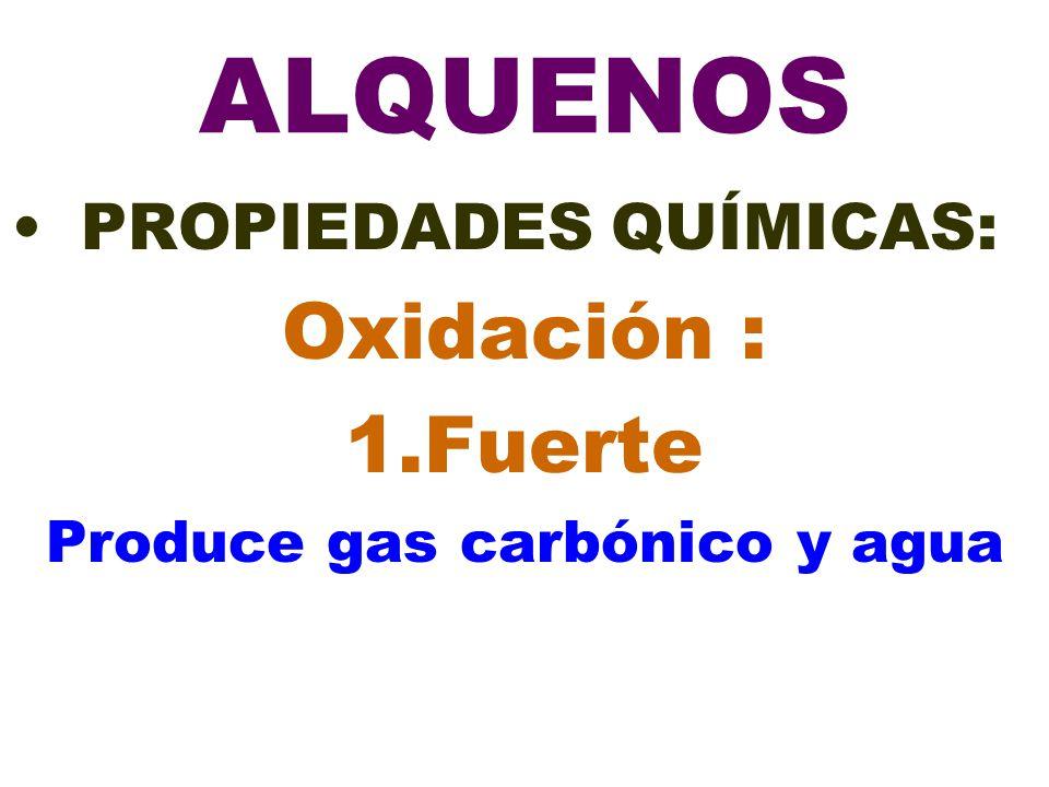 ALQUENOS PROPIEDADES QUÍMICAS: Oxidación : 1.Fuerte Produce gas carbónico y agua