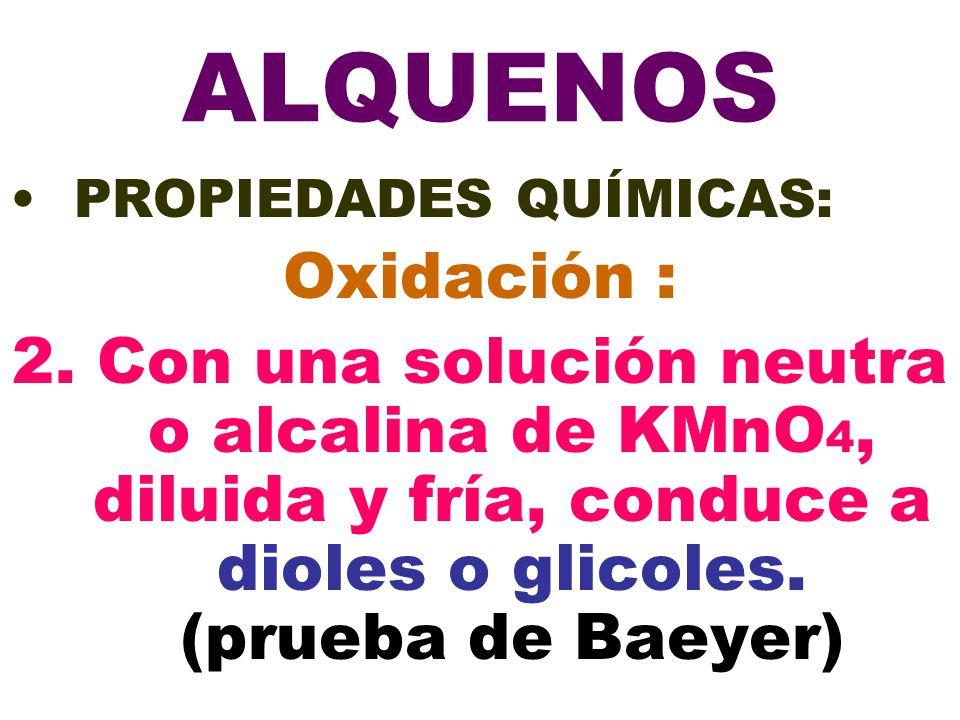 ALQUENOS PROPIEDADES QUÍMICAS: Oxidación : 2. Con una solución neutra o alcalina de KMnO 4, diluida y fría, conduce a dioles o glicoles. (prueba de Ba