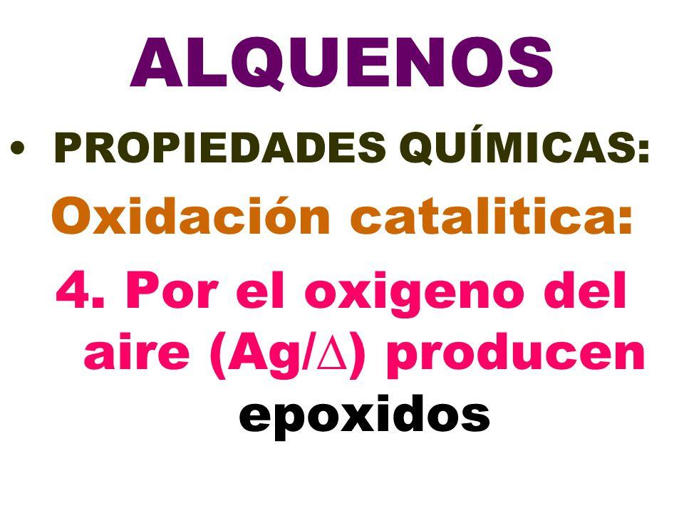 ALQUENOS PROPIEDADES QUÍMICAS: Oxidación catalitica: 4. Por el oxigeno del aire (Ag/) producen epoxidos