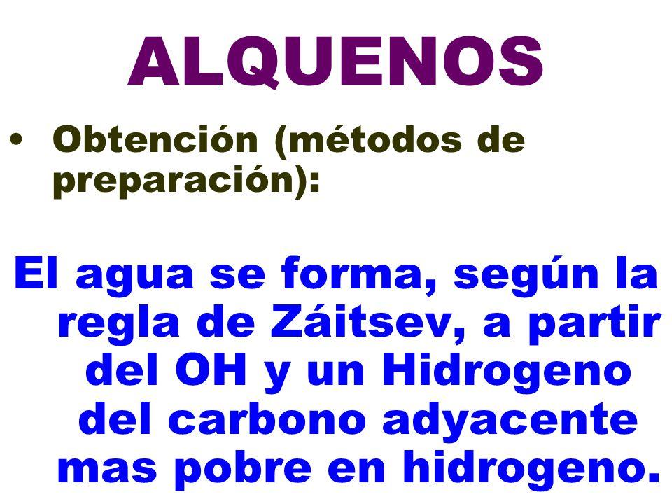 ALQUENOS Obtención (métodos de preparación): El agua se forma, según la regla de Záitsev, a partir del OH y un Hidrogeno del carbono adyacente mas pob