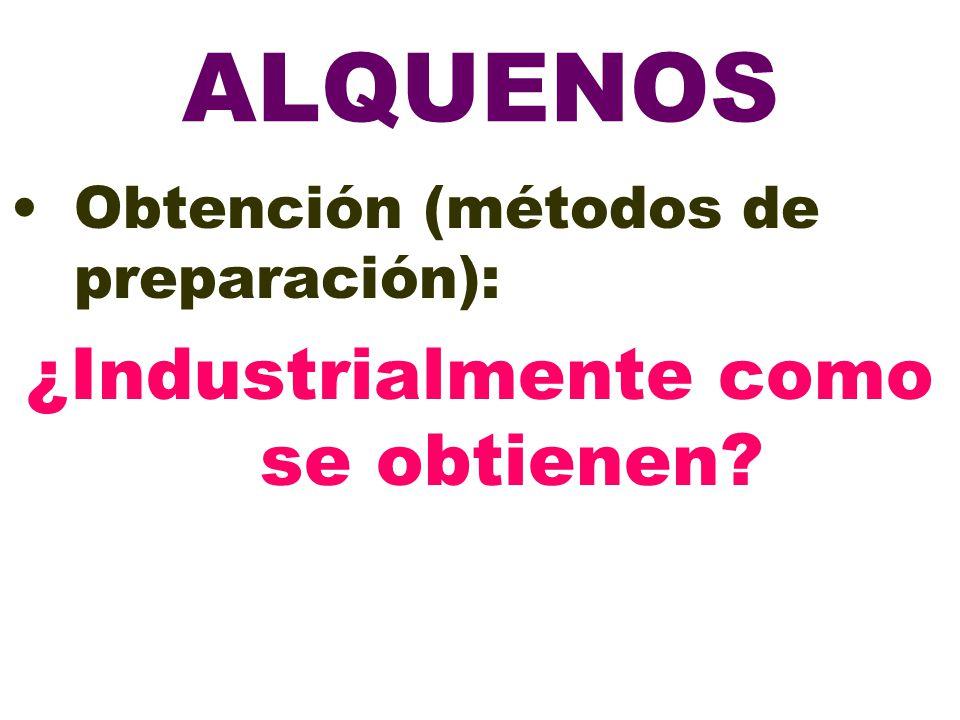 ALQUENOS Obtención (métodos de preparación): ¿Industrialmente como se obtienen?