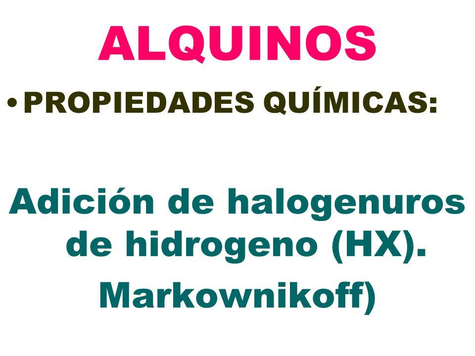 ALQUINOS PROPIEDADES QUÍMICAS: Adición de halogenuros de hidrogeno (HX). Markownikoff)
