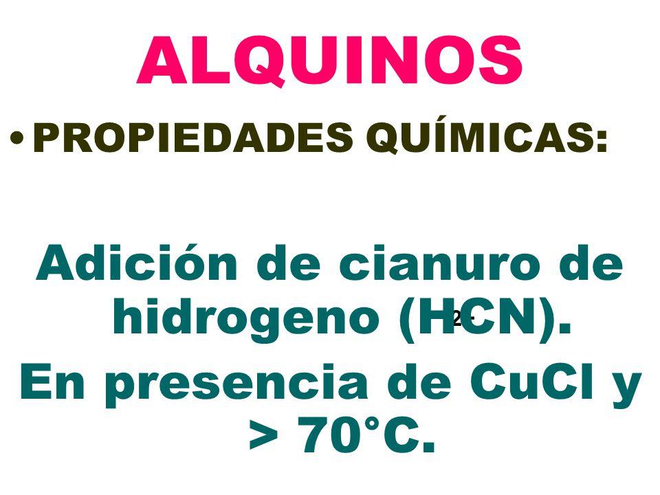 2+ ALQUINOS PROPIEDADES QUÍMICAS: Adición de cianuro de hidrogeno (HCN). En presencia de CuCl y > 70°C.