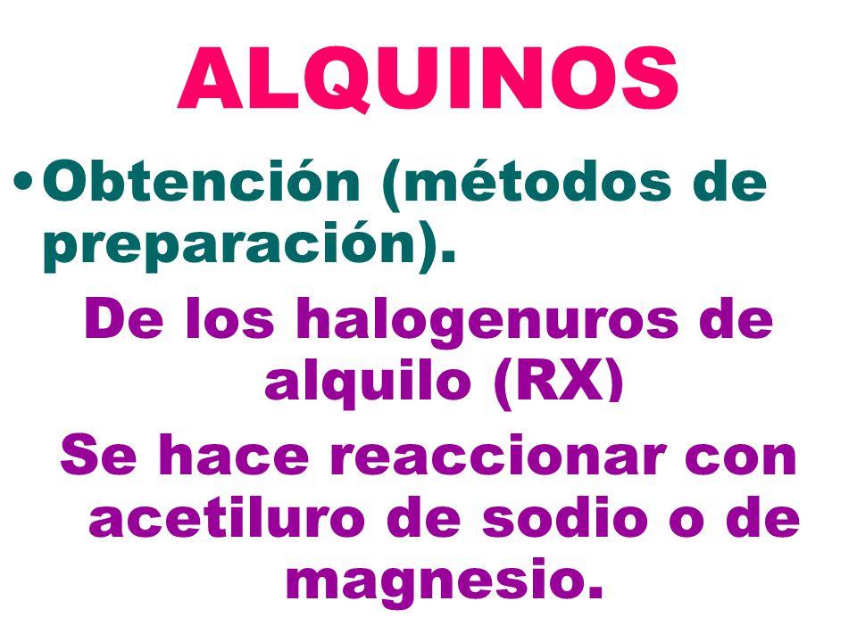 2+ ALQUINOS Obtención (métodos de preparación). De los halogenuros de alquilo (RX) Se hace reaccionar con acetiluro de sodio o de magnesio.