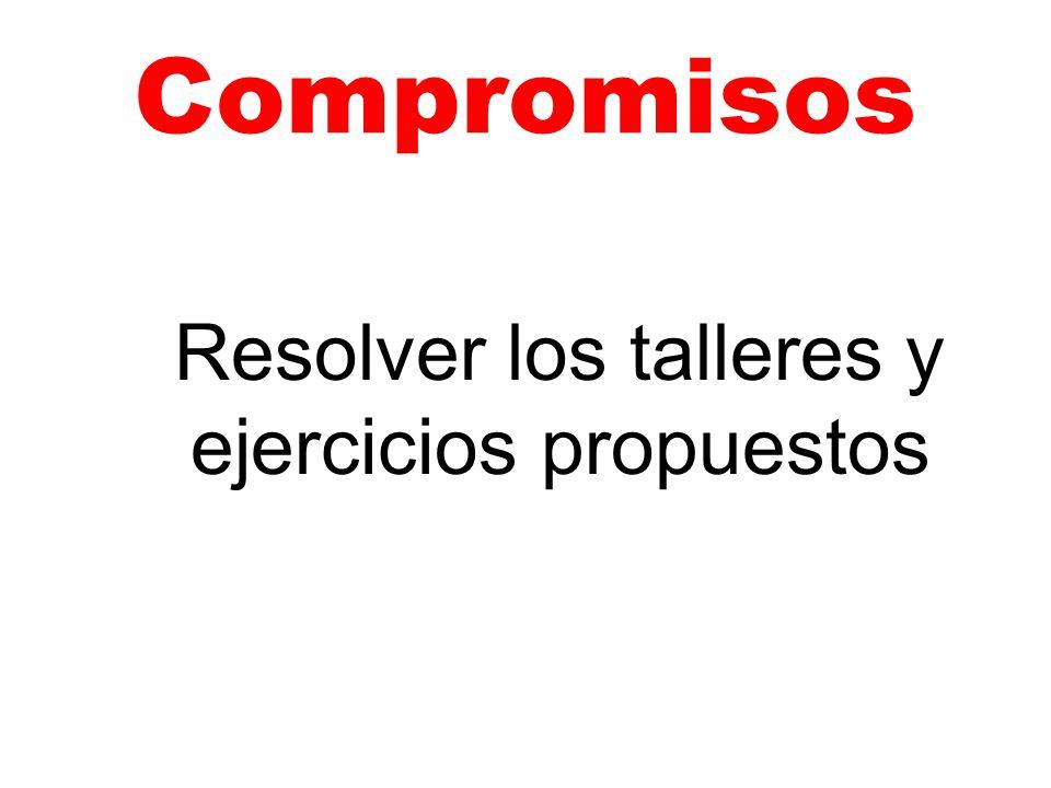 Compromisos Resolver los talleres y ejercicios propuestos