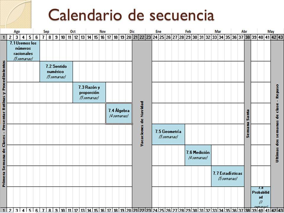 Calendario de secuencia