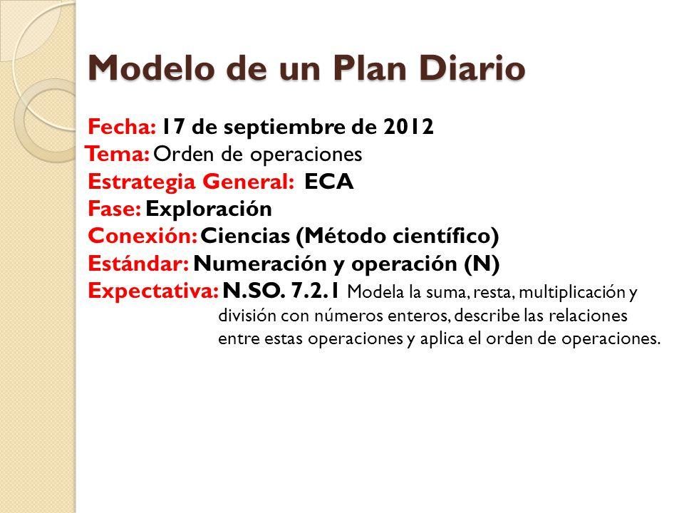 Modelo de un Plan Diario Modelo de un Plan Diario Fecha: 17 de septiembre de 2012 Tema: Orden de operaciones Estrategia General: ECA Fase: Exploración Conexión: Ciencias (Método científico) Estándar: Numeración y operación (N) Expectativa: N.SO.