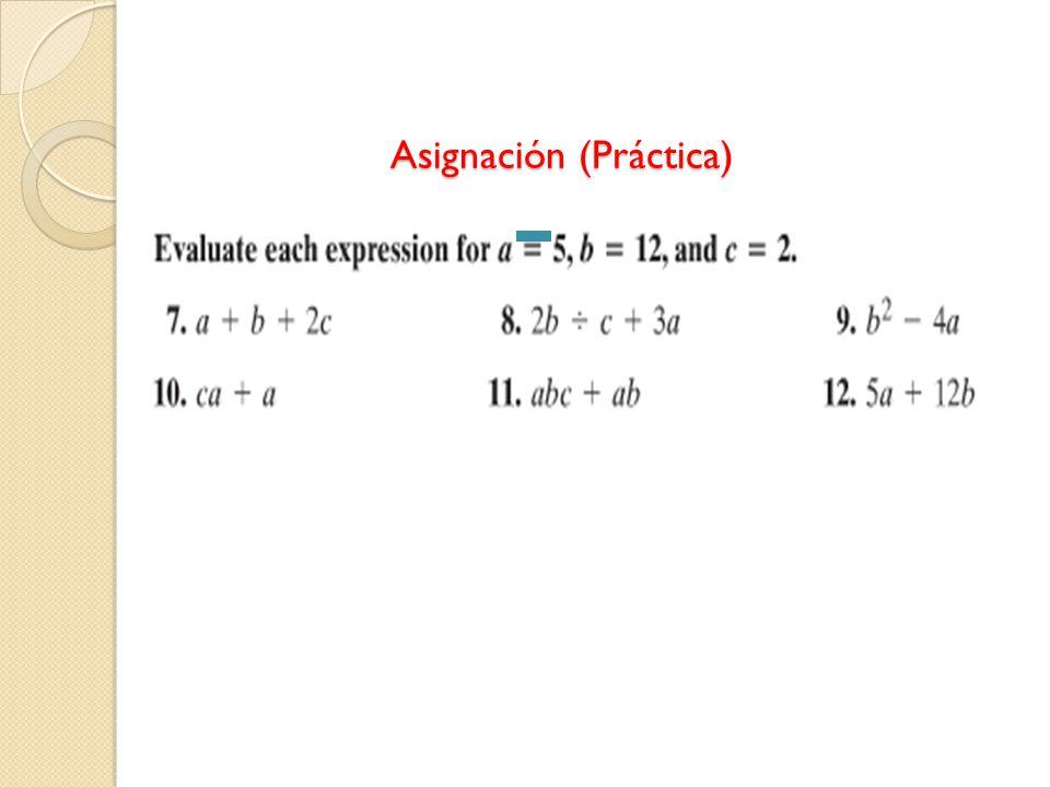 Asignación (Práctica) Asignación (Práctica)