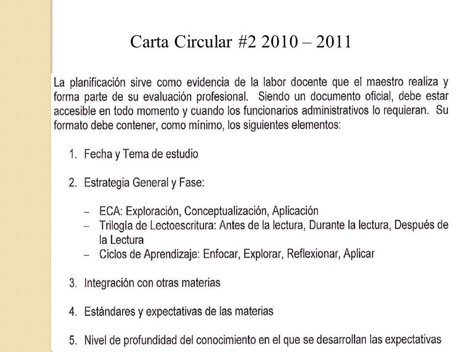 Carta Circular #2 2010 – 2011