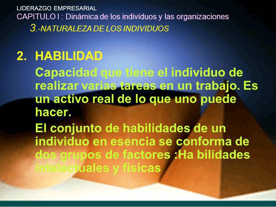 LIDERAZGO EMPRESARIAL CAPITULO I : Dinámica de los individuos y las organizaciones 3.-NATURALEZA DE LOS INDIVIDUOS 2.HABILIDAD Capacidad que tiene el