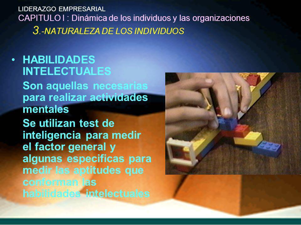 LIDERAZGO EMPRESARIAL CAPITULO I : Dinámica de los individuos y las organizaciones 3.-NATURALEZA DE LOS INDIVIDUOS HABILIDADES INTELECTUALES Son aquel
