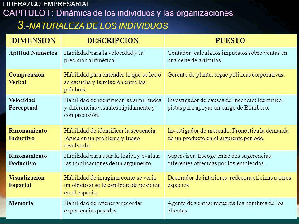 LIDERAZGO EMPRESARIAL CAPITULO I : Dinámica de los individuos y las organizaciones 3.-NATURALEZA DE LOS INDIVIDUOS DIMENSIONDESCRIPCIONPUESTO Aptitud