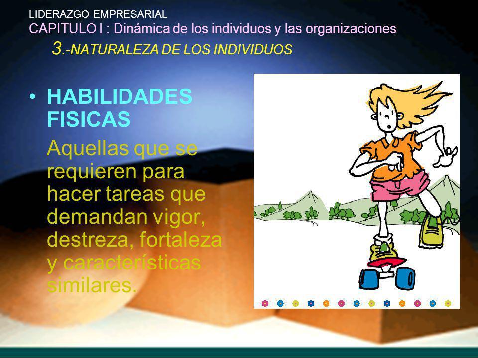 LIDERAZGO EMPRESARIAL CAPITULO I : Dinámica de los individuos y las organizaciones 3.-NATURALEZA DE LOS INDIVIDUOS HABILIDADES FISICAS Aquellas que se
