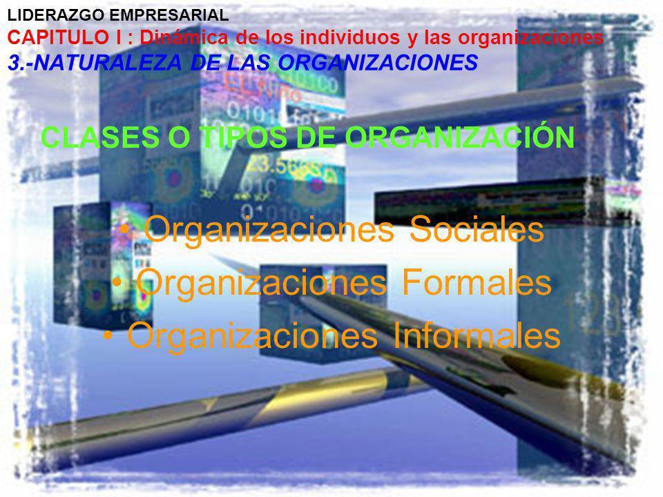 LIDERAZGO EMPRESARIAL CAPITULO I : Dinámica de los individuos y las organizaciones 3.-NATURALEZA DE LAS ORGANIZACIONES CLASES O TIPOS DE ORGANIZACIÓN