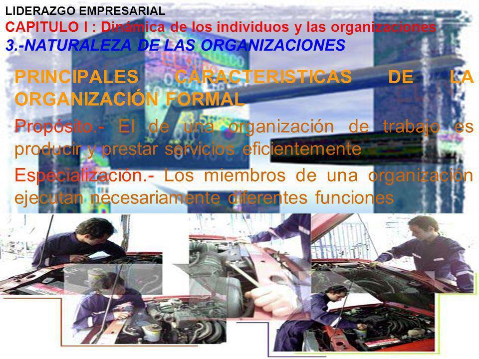 LIDERAZGO EMPRESARIAL CAPITULO I : Dinámica de los individuos y las organizaciones 3.-NATURALEZA DE LAS ORGANIZACIONES PRINCIPALES CARACTERISTICAS DE