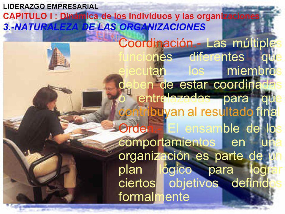 LIDERAZGO EMPRESARIAL CAPITULO I : Dinámica de los individuos y las organizaciones 3.-NATURALEZA DE LAS ORGANIZACIONES Coordinación.- Las múltiples fu