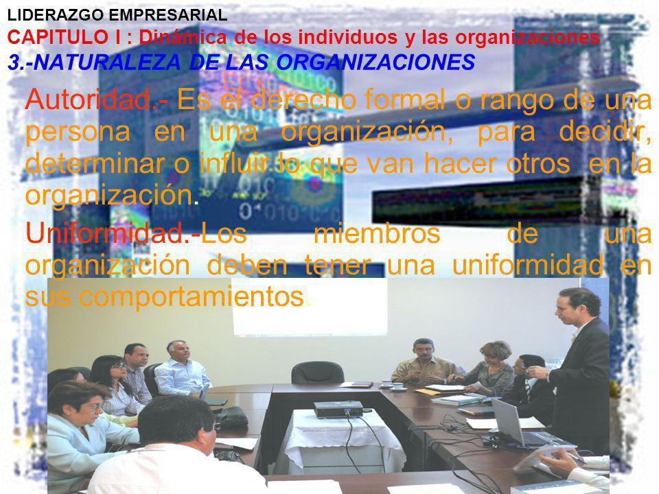 LIDERAZGO EMPRESARIAL CAPITULO I : Dinámica de los individuos y las organizaciones 3.-NATURALEZA DE LAS ORGANIZACIONES Autoridad.- Es el derecho forma