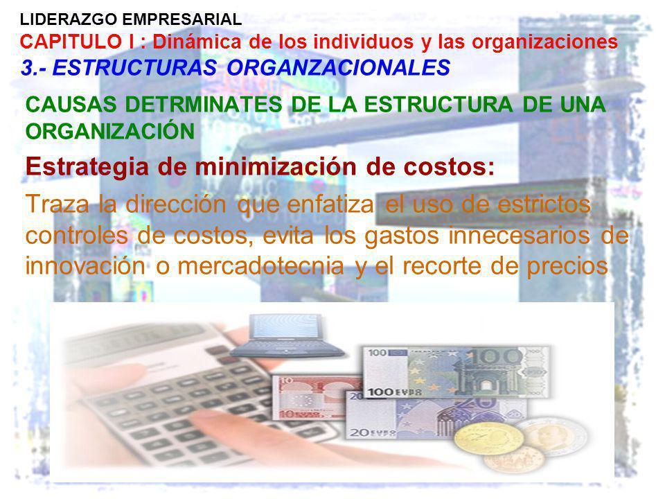 LIDERAZGO EMPRESARIAL CAPITULO I : Dinámica de los individuos y las organizaciones 3.- ESTRUCTURAS ORGANZACIONALES CAUSAS DETRMINATES DE LA ESTRUCTURA