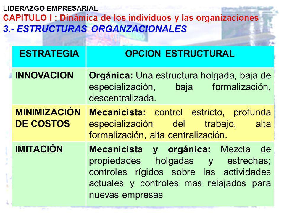 LIDERAZGO EMPRESARIAL CAPITULO I : Dinámica de los individuos y las organizaciones 3.- ESTRUCTURAS ORGANZACIONALES ESTRATEGIAOPCION ESTRUCTURAL INNOVA