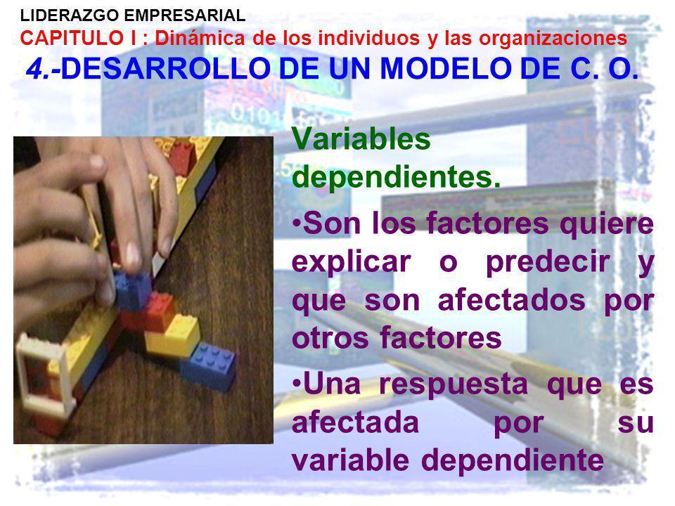 LIDERAZGO EMPRESARIAL CAPITULO I : Dinámica de los individuos y las organizaciones 4.-DESARROLLO DE UN MODELO DE C. O. Variables dependientes. Son los