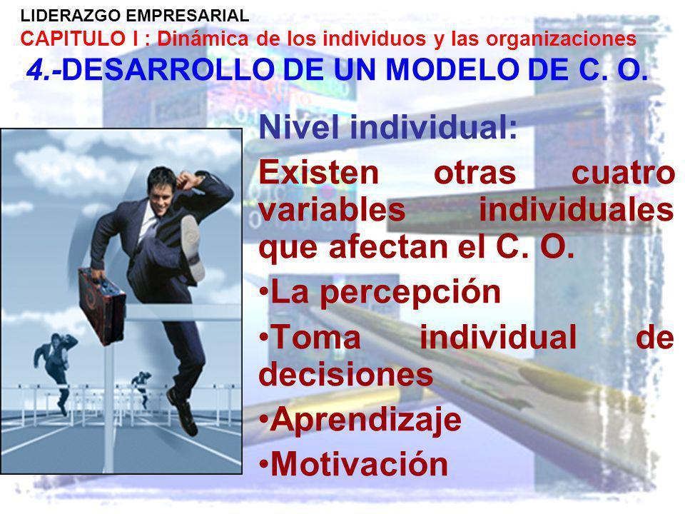 LIDERAZGO EMPRESARIAL CAPITULO I : Dinámica de los individuos y las organizaciones 4.-DESARROLLO DE UN MODELO DE C. O. Nivel individual: Existen otras