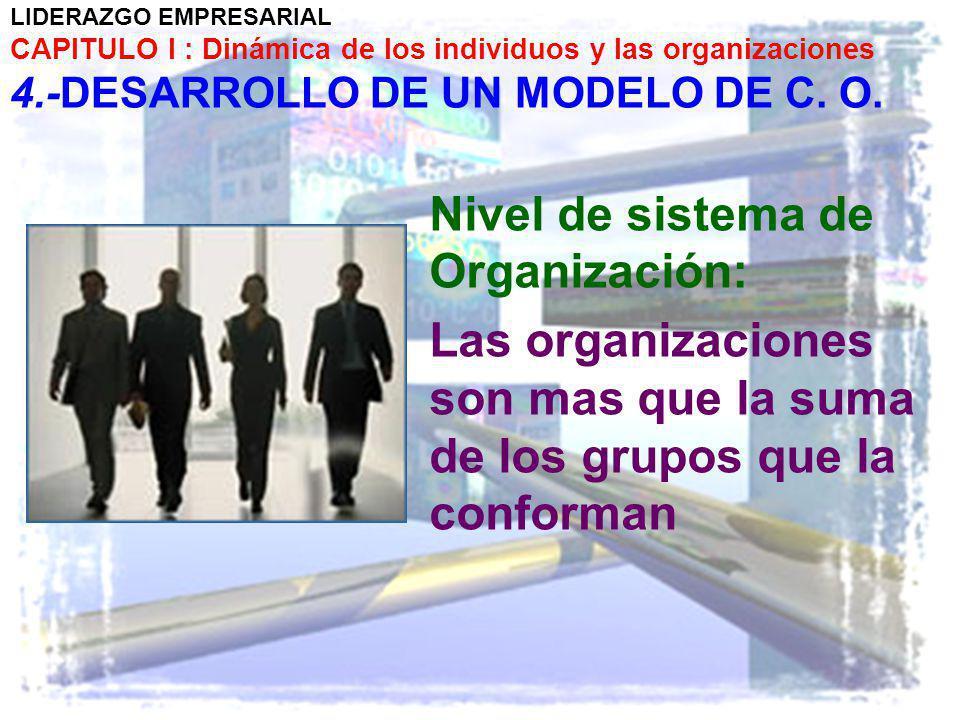 LIDERAZGO EMPRESARIAL CAPITULO I : Dinámica de los individuos y las organizaciones 4.-DESARROLLO DE UN MODELO DE C. O. Nivel de sistema de Organizació