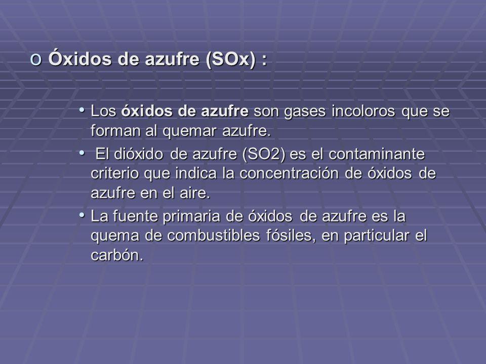 o Óxidos de azufre (SOx) : Los óxidos de azufre son gases incoloros que se forman al quemar azufre.