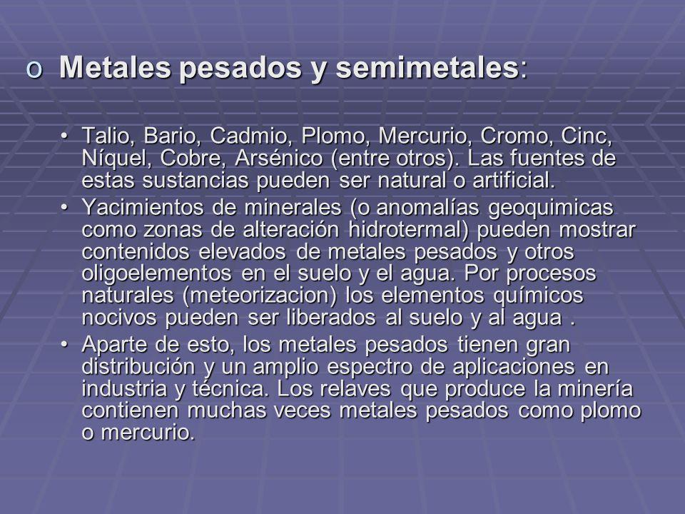 o Metales pesados y semimetales: Talio, Bario, Cadmio, Plomo, Mercurio, Cromo, Cinc, Níquel, Cobre, Arsénico (entre otros).