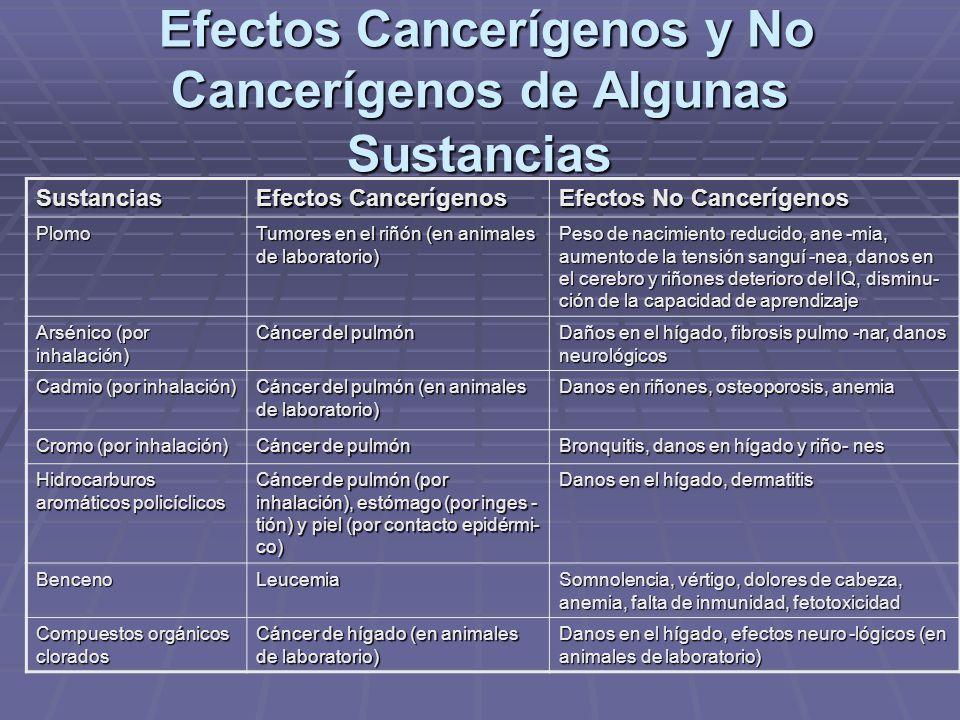 Efectos Cancerígenos y No Cancerígenos de Algunas Sustancias Efectos Cancerígenos y No Cancerígenos de Algunas Sustancias Sustancias Efectos Cancerígenos Efectos No Cancerígenos Plomo Tumores en el riñón (en animales de laboratorio) Peso de nacimiento reducido, ane -mia, aumento de la tensión sanguí -nea, danos en el cerebro y riñones deterioro del IQ, disminu- ción de la capacidad de aprendizaje Arsénico (por inhalación) Cáncer del pulmón Daños en el hígado, fibrosis pulmo -nar, danos neurológicos Cadmio (por inhalación) Cáncer del pulmón (en animales de laboratorio) Danos en riñones, osteoporosis, anemia Cromo (por inhalación) Cáncer de pulmón Bronquitis, danos en hígado y riño- nes Hidrocarburos aromáticos policíclicos Cáncer de pulmón (por inhalación), estómago (por inges - tión) y piel (por contacto epidérmi- co) Danos en el hígado, dermatitis BencenoLeucemia Somnolencia, vértigo, dolores de cabeza, anemia, falta de inmunidad, fetotoxicidad Compuestos orgánicos clorados Cáncer de hígado (en animales de laboratorio) Danos en el hígado, efectos neuro -lógicos (en animales de laboratorio)