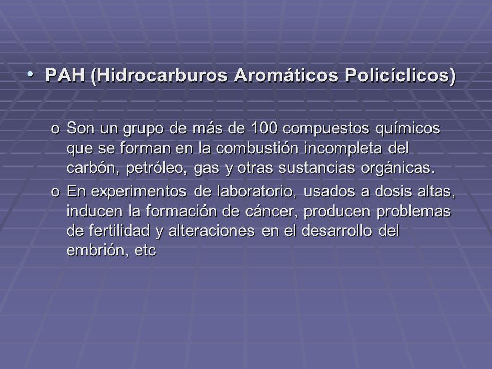 PAH (Hidrocarburos Aromáticos Policíclicos) PAH (Hidrocarburos Aromáticos Policíclicos) oSon un grupo de más de 100 compuestos químicos que se forman en la combustión incompleta del carbón, petróleo, gas y otras sustancias orgánicas.